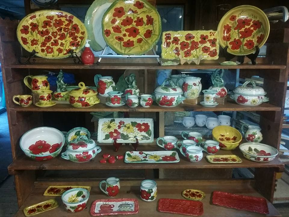 red-and-yellow-and-white-and-red-pottery