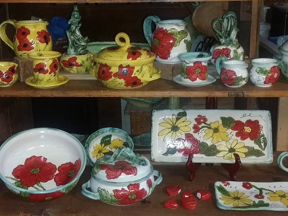 yellow-and-red-pottery